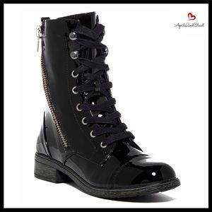 Report Shoes - BLACK MOTO VEGAN PATENT LEATHER COMBAT BOOTS